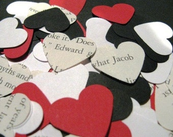 Red, white, black, and Twilight text heart confetti- 100 count