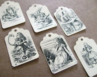 Set of 30 Alice in Wonderland gift tags