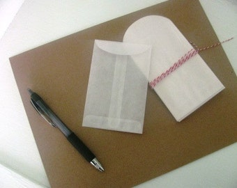 100 Seed packet envelopes- CLEAR glassine envelopes
