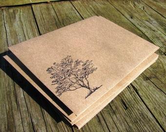 10 Tree stamped kraft A6 envelopes
