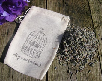 12 LAVENDER FILLED Love bird and quote stamped muslin drawstring bags