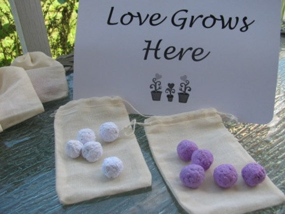 Set of 25 - Plantable paper Wildflower seed ball favors in muslin drawstring bags