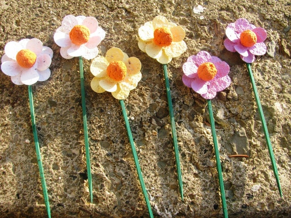 50 Plantable paper flowers on sticks- choose from 16 colors available