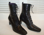 Vintage Black Lace-Up Granny Boots Mid Calf  Etienne Aigner