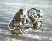 Vintage Ring 925 Mexico Silver Pyrite Fools Gold Nugget Millan