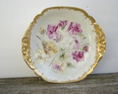 Limoges Hand Painted Bowl Pansies T&V Antique