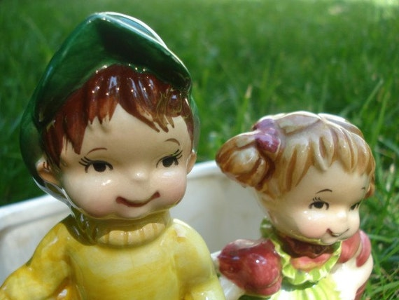 Jack And Jill Vintage Planter Vase Children's Nursery Rhyme