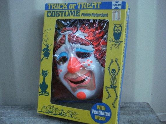 Creepy Clown Trick Or Treat Costume Halco 1960's