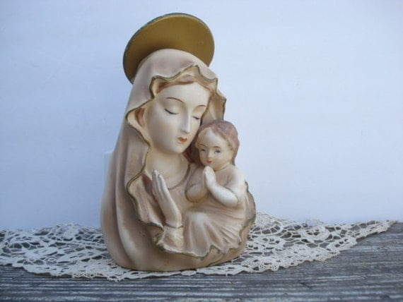 Madonna and Child Head Vase Planter Japan 1950's