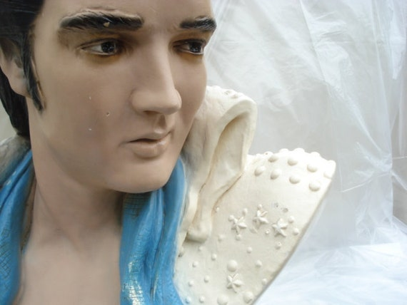 Iconic Elvis Lamp Life Size Bust Collectible Elvis Presley Memorabilia The King Of Rock and Roll Chalkware Baby Blue Scarf