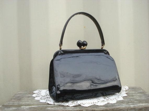 Vintage Black Patent Leather Purse 1940's