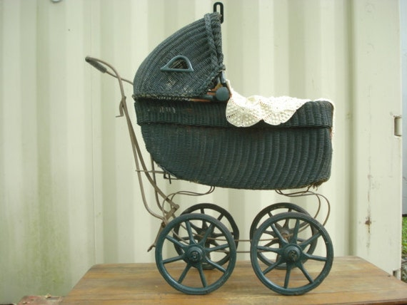 Items similar to antique wicker baby doll carriage buggy for Baby carriage decoration