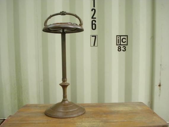 Vintage Smoking Stand Pedestal Ashtray Brass