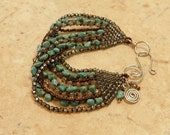 9 Strand Beaded Bracelet with Turquoise / FREE SHIPPING
