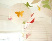 20 Butterflies, 3 Lanterns, Hanging, 3D,  Pink, Green, Yellow, Nursery, Baby, Wedding Decor, Shower,  Handmade by Simplychiclily