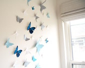 30 Butterflies, Blue, Silver, White, Butterfly, Wall Decor, 3D,  Nursery, Baby, Wedding , Shower,Cardstock, Eco-friendly Simplychiclily