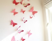 15 3D Paper Butterflies, 3D Butterfly Wall Art, Wall Decor, Butterfly Silhouettes, Red, Pink,Nursery, Baby, Wedding, Baby Shower, Girls Room