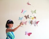 Large Butterfly Mobile, Paper, Art,  Hanging, 3D, Nursery Decor, Baby, Baby Shower, Girls Room