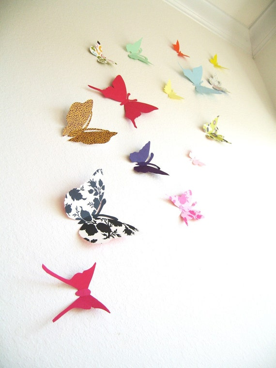 15 3d butterfly wall art butterfly silhouettes for girl for 3d wall butterfly decoration