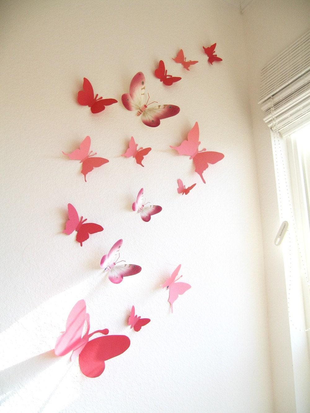30 3D Wall Butterflies Paper Wall Decor 3DPink Red