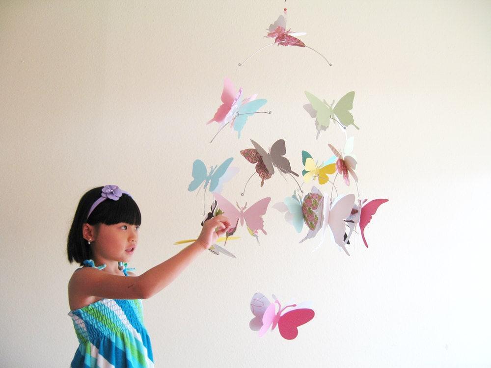 Large butterfly mobile paper art hanging 3d by simplychiclily - Como decorar la habitacion de un nino ...