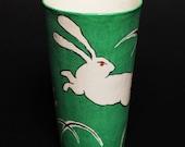 Studio Limoges Porcelain Tumbler Mug Green Hand Painted Bunny Rabbit Hare