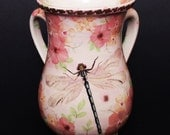 Pottery Handmade Washing Wash Cup Pink Gold Dragonfly Flowers Judaica