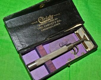 Antique Vintage Christy Shaving Razor & Case