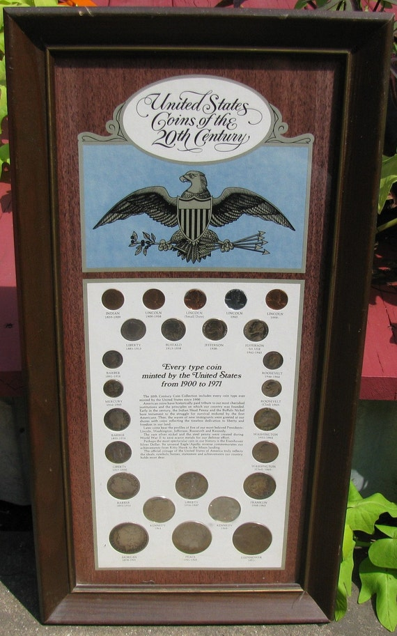U.S. COINS OF THE 20th CENTURY  FRAMED  COLLECTIBLE SILVER COINS
