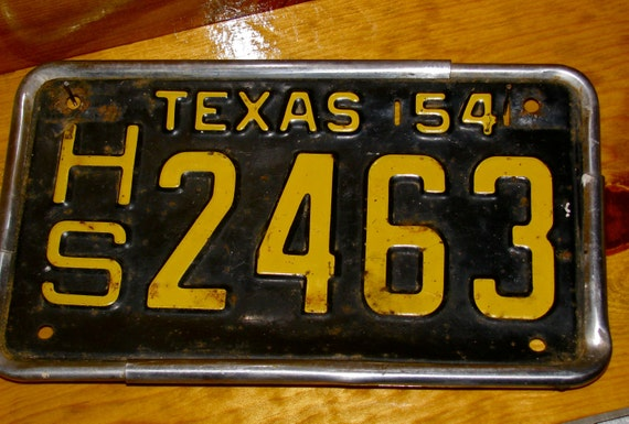 1954 Texas License Plate Old Vintage Collectible