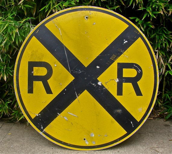 Vintage 36 Inch Metal Railroad Crossing Reflective Sign