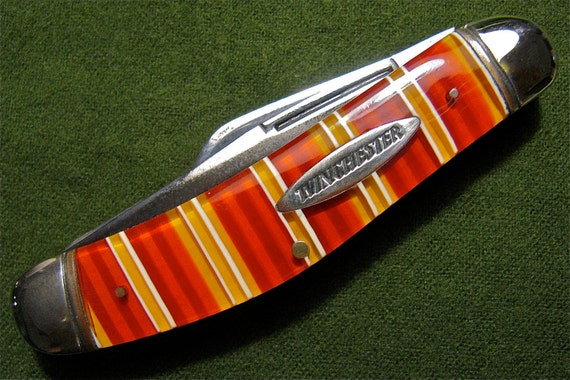 Winchester 1992  3 Blade Sowbelly Pattern Pocket Knife / Candy Stripe Handles
