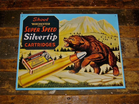 Vintage Winchester Ammo / Bullet  Silvertip Cartridge Metal / Tin Sign