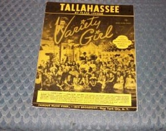 Vintage Sheet Music-Tallahassee-By Frank Loesser