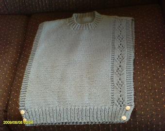 Handknitted  girl's vest - size s-m - light blue - 1980's