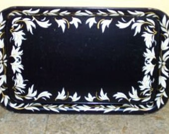Vintage Metal Serving Tray-Black with White and Gold Leaves