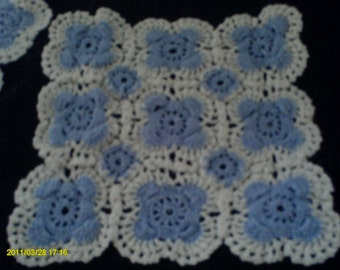 Vintage hand crochet doilies-set of three-cotton-blue and white