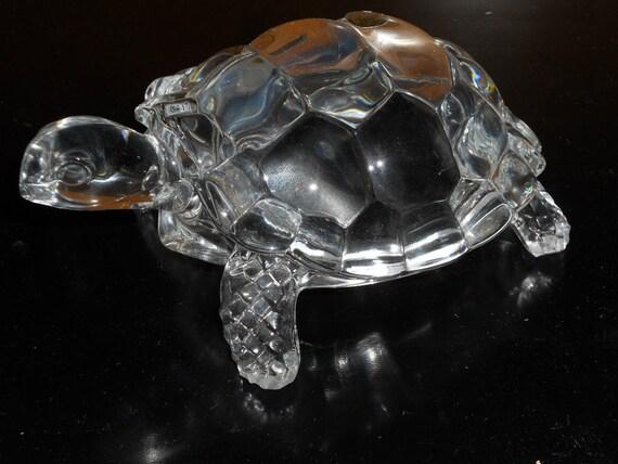 Vintage Cristal d Argues Turtle Paperweight-Genuine Lead Crystal