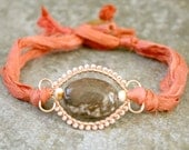 Zebra Jasper and Peach Glass Coral Pink Silk Sari Wire Wrap Bracelet