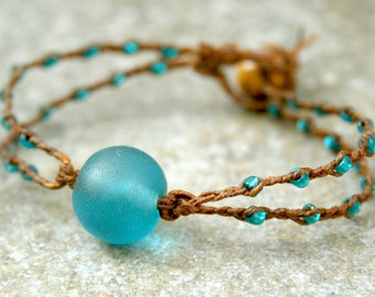 Teal Recycled Sea Glass Bracelet with Braided Seed Beads MADE TO ORDER