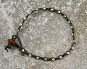 Black and Silver Single Wrap Bracelet Perfect Beach Jewelry