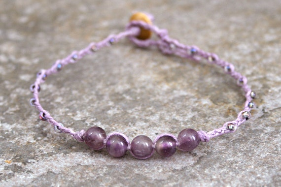 February Birthday Braided Bracelet with Amethyst Stones