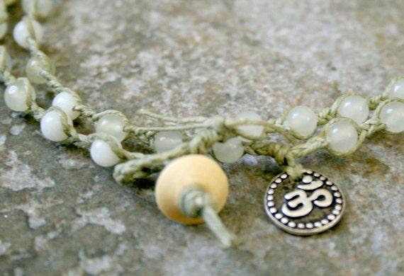 Men's Yoga Om Wrap Bracelet Stone New Jade Serpentine Sage Green Double Wrap