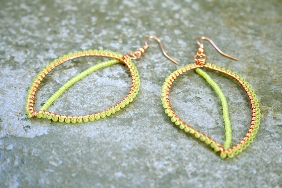 CLEARANCE Long Lime Green Leaf Earrings Wire Wrapped Copper