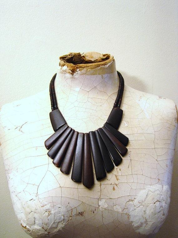 Indian wood burst bib statement necklace boho hippie