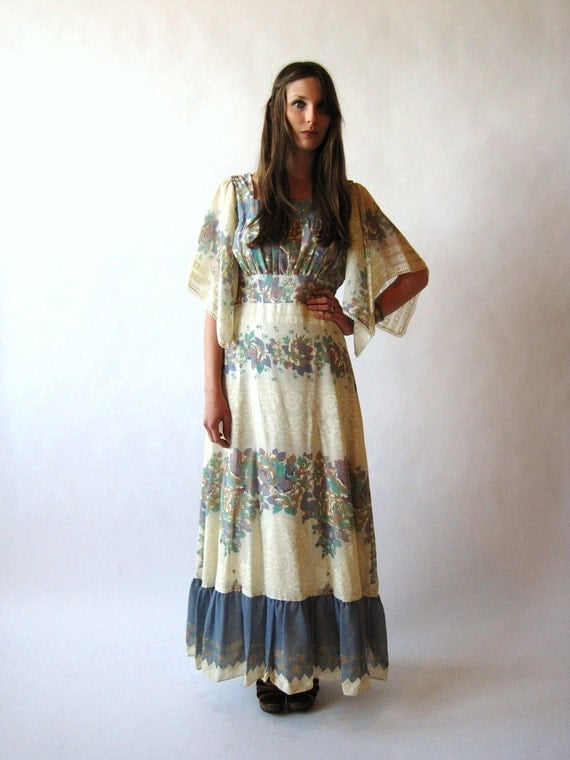 Vintage 70s 1970s Maxi Dress Bell Sleeve Hippie By