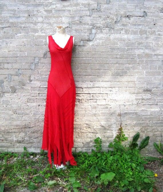 vintage 90s does 70s sheer maxi dress red silk chiffon hanky hem beaded Stevie Nicks amazing NWT