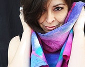 OOAK silk scarf.  Each one is an original A purple fuchia & turquoise rainbow in silk