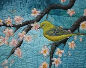 Applique Art Quilt, hand painted silk Under the Cherry Tree
