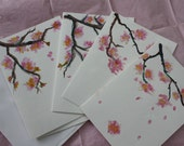 Original art card set of four, each one an origional painted cherry blosom sm fine art mini painting cherry blossoms